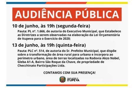 Câmara realiza duas audiências públicas no mês de junho
