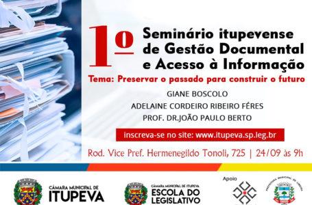 Câmara terá Seminário de Gestão Documental e Acesso à Informação