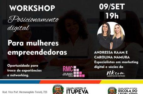 Câmara promove workshop de Posicionamento Digital para Mulheres Empreendedoras