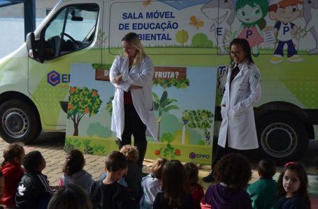 Parceria entre Educação e Meio Ambiente fala sobre  a importância das frutas para crianças do Maternal II em Cabreúva