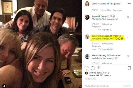 Jennifer Aniston cria conta em Instagram e publica foto com reunião do elenco de 'Friends'