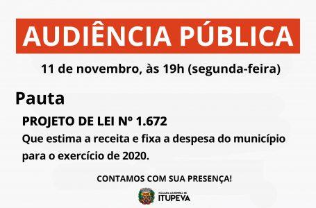 Câmara terá audiência pública de Projeto de Lei sobre exercício financeiro do Executivo para 2020