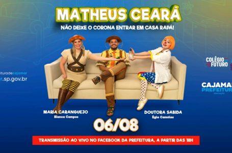 """Matheus Ceará fará live com o tema: """"Não deixe o Corona entrar em casa rapá!"""", para crianças de Cajamar"""